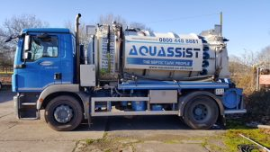Aquassist lorry used to empty septic tank